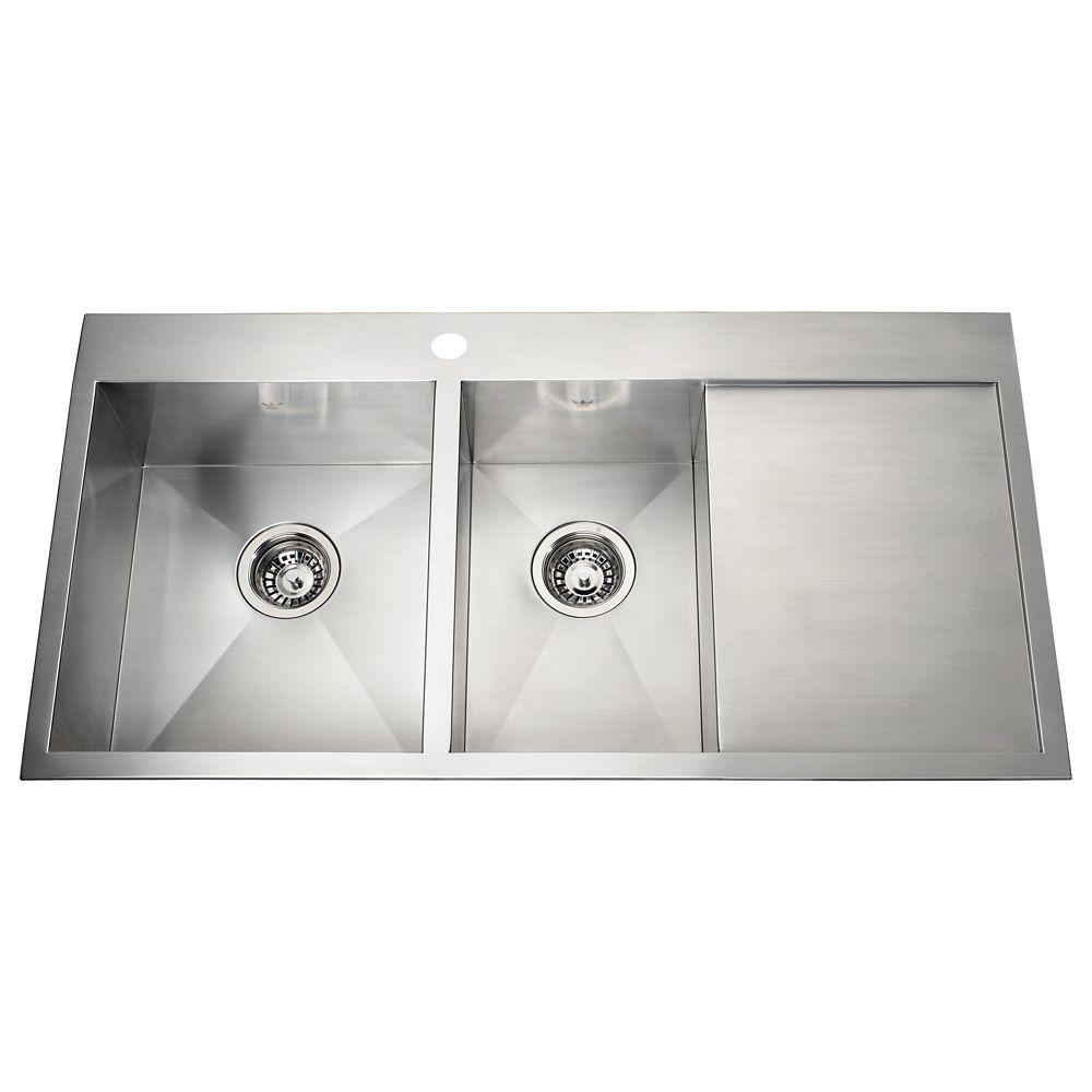 Kindred 20 Ga HandFab DM drainerboard sink 1 hole drilling