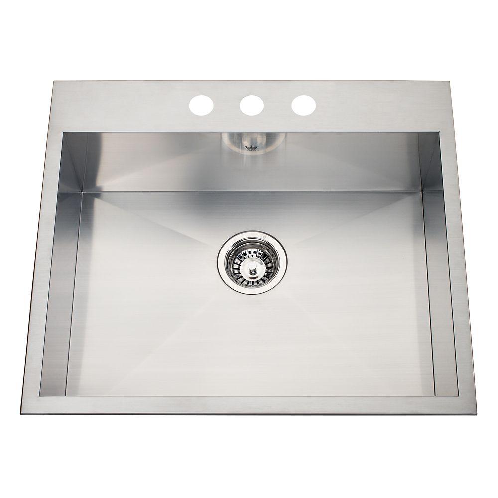 20 Ga Handfab DM Single Sink 3 Hole Drilling
