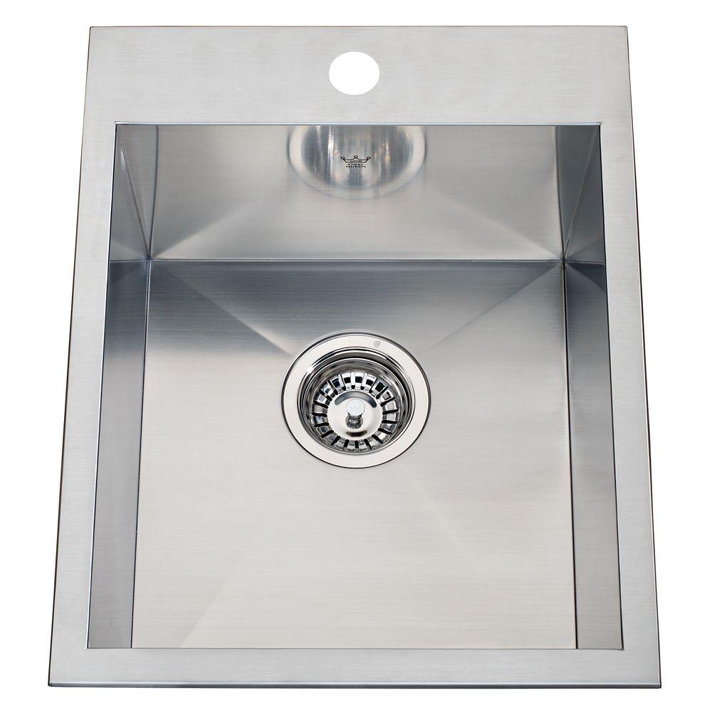 20 Ga HandFab DM single sink 1 hole drilling