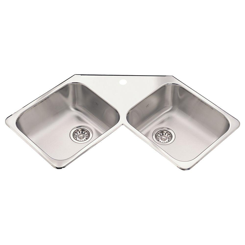 Double Corner Sink 20 Ga 1 Hole Drilling