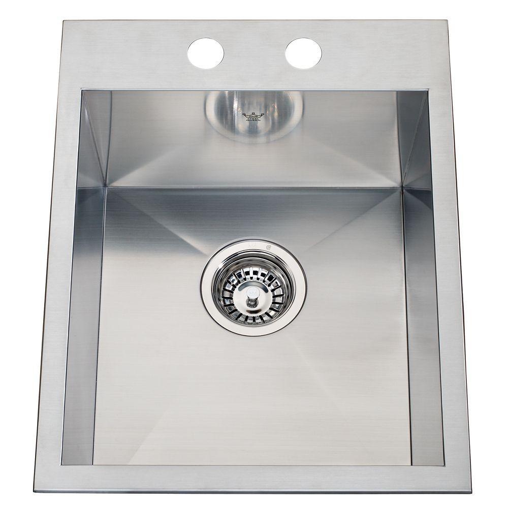 20 Ga HandFab DM single sink 2 hole drilling