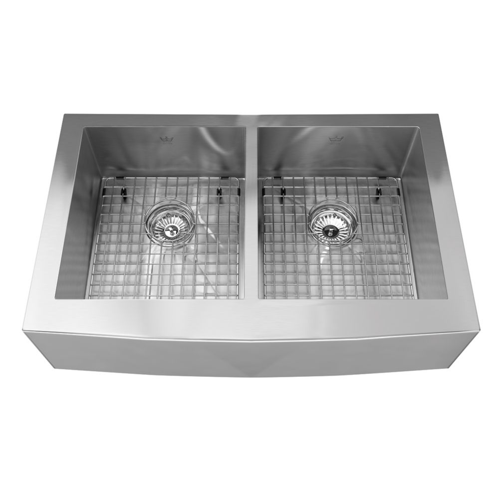 20 Ga Handfab Apron Double Sink