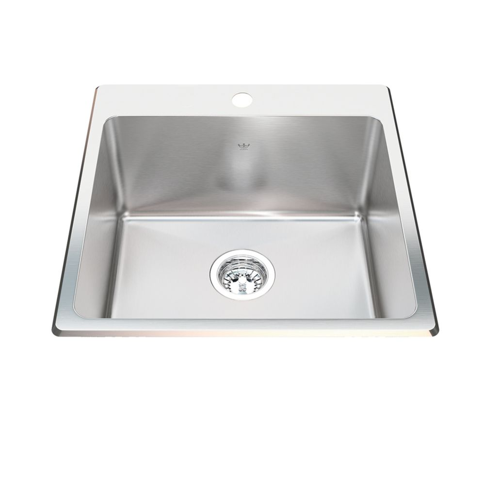 Kindred 20 Ga HandFab DM single sink 1 hole drilling