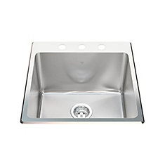 20 Ga HandFab DM single sink 3 hole drilling