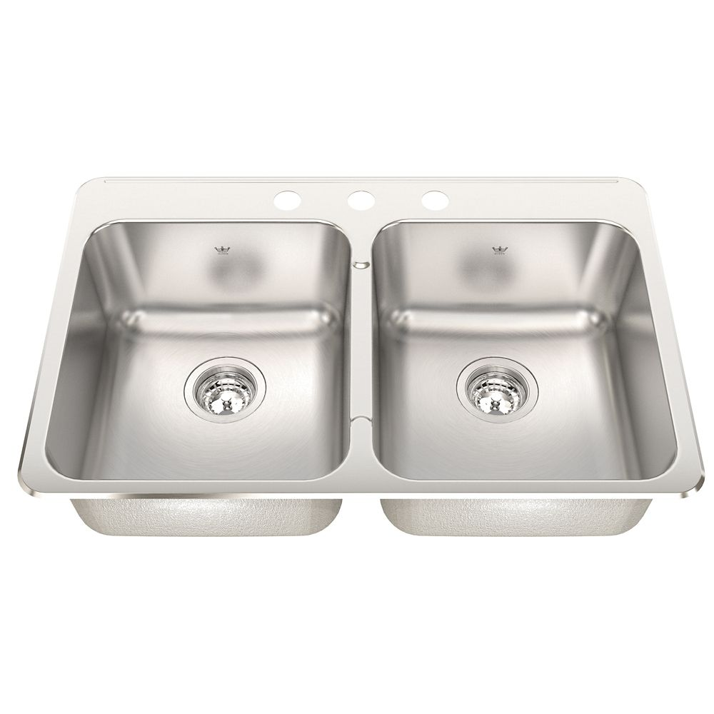 Kindred Double 20 Ga sink Silk finish 3 hole drilling