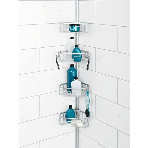 Tension Pole Corner Shower Caddy zenith products neverrust aluminum tension pole corner shower
