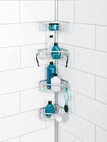 Home Depot Shower Caddy Delectable Zenith Products NeverRust Aluminum Tension Pole Corner Shower Caddy