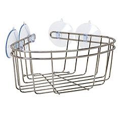 Zenna Home Corner Bath and Shower Basket in Brushed Nickel