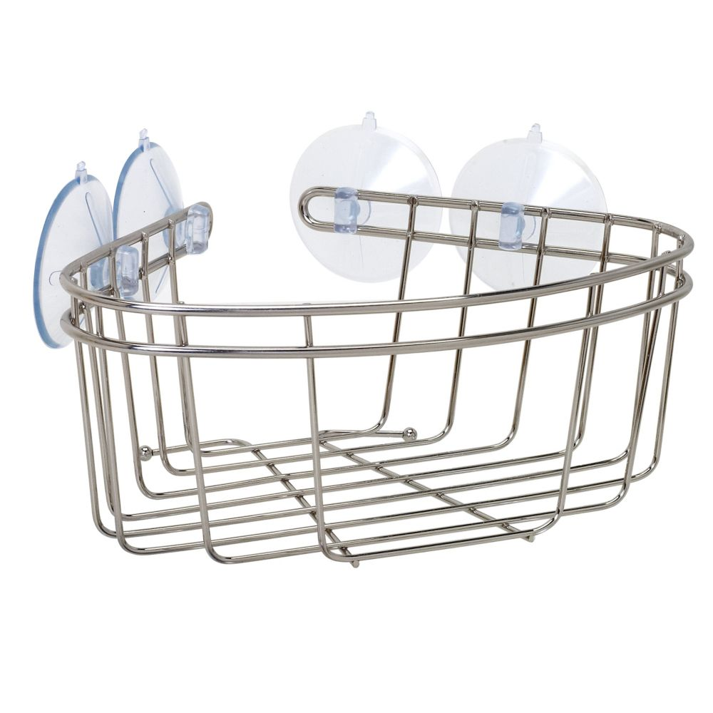 Zenna Home Corner Bath and Shower Basket in Brushed Nickel