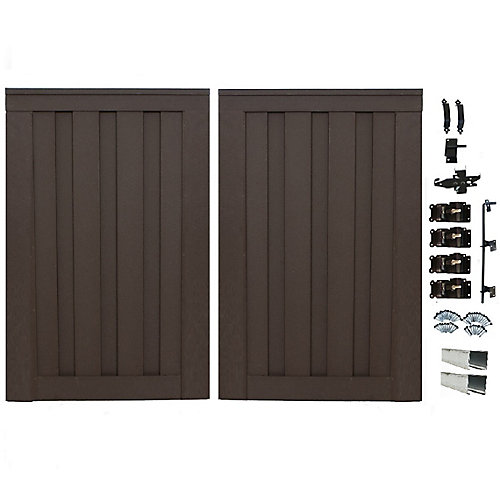 6 Feet x 8 Feet Woodland Brown Composite Privacy Fence Double Gate with Hardware
