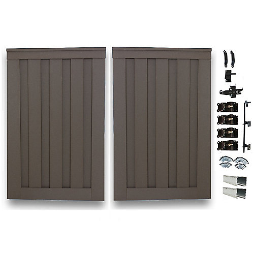 6 Feet x 8 Feet Winchester Grey Composite Privacy Fence Double Gate with Hardware
