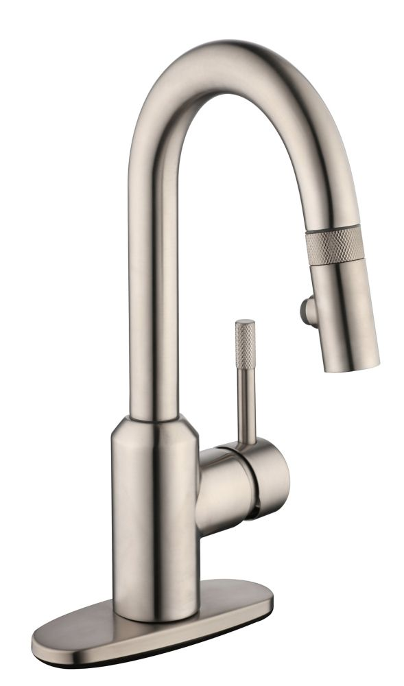GLACIER BAY 2600 Series Pulldown Laundry Faucet in Stainless Steel