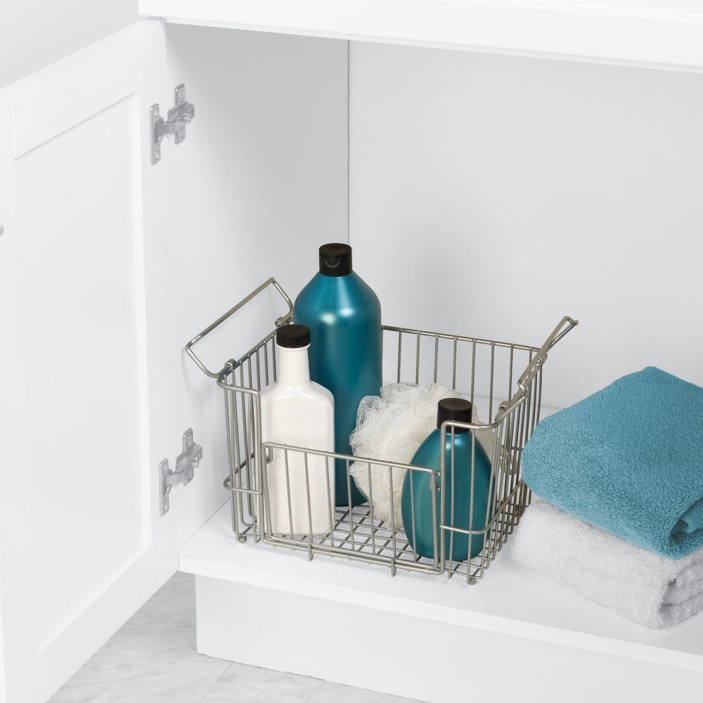 Medium Stacking Vanity Storage Basket in Satin Chrome