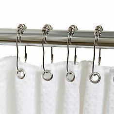 Zenna Home Roller Shower Rings in Chrome