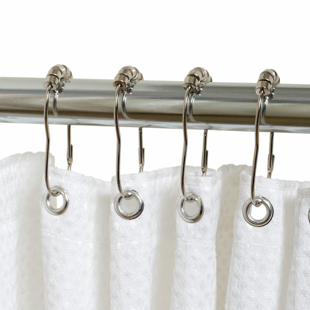 Anneaux de rideau de douche à roulement à billes Zenna Home en chrome