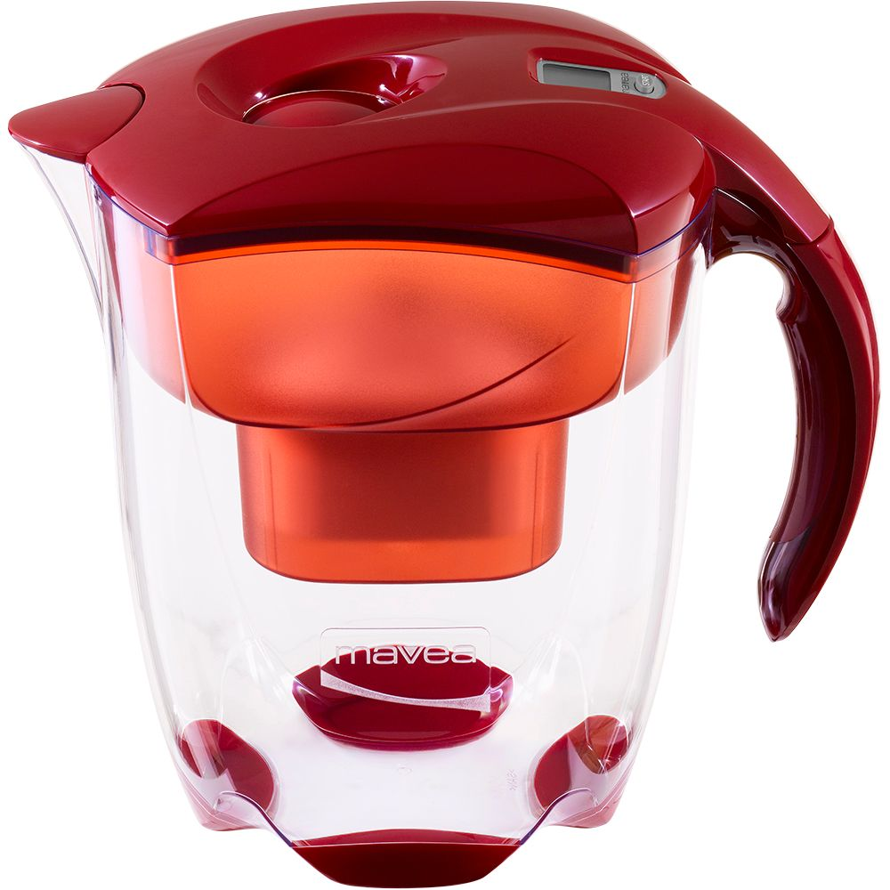 Elemaris XL Water Filter Pitcher, 9 Glasses, Red