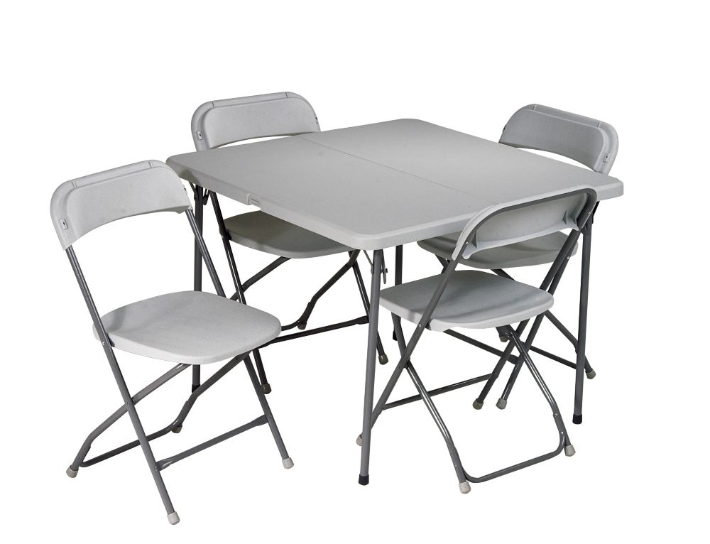 5 Piece Resin Folding Set, 1 Table & 4 Chairs