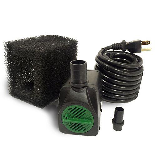 Angelo Décor Pompe 650LPH, hauteur de pompage 88cm, arrêt en cas faible niveau d'eau, pompe filtre, cordon 3m