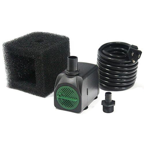 Angelo Décor Pompe 1200LPH, hauteur de pompage 112cm, arrêt en cas faible niveau d'eau, pompe filtre, cordon 5m