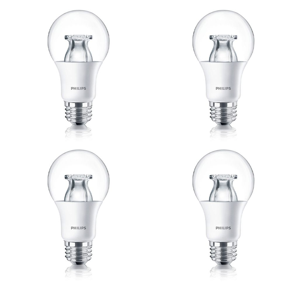 LED 60W A19 Clear Soft White WarmGlow (2700K - 2200K) - Case Of 4 Bulbs