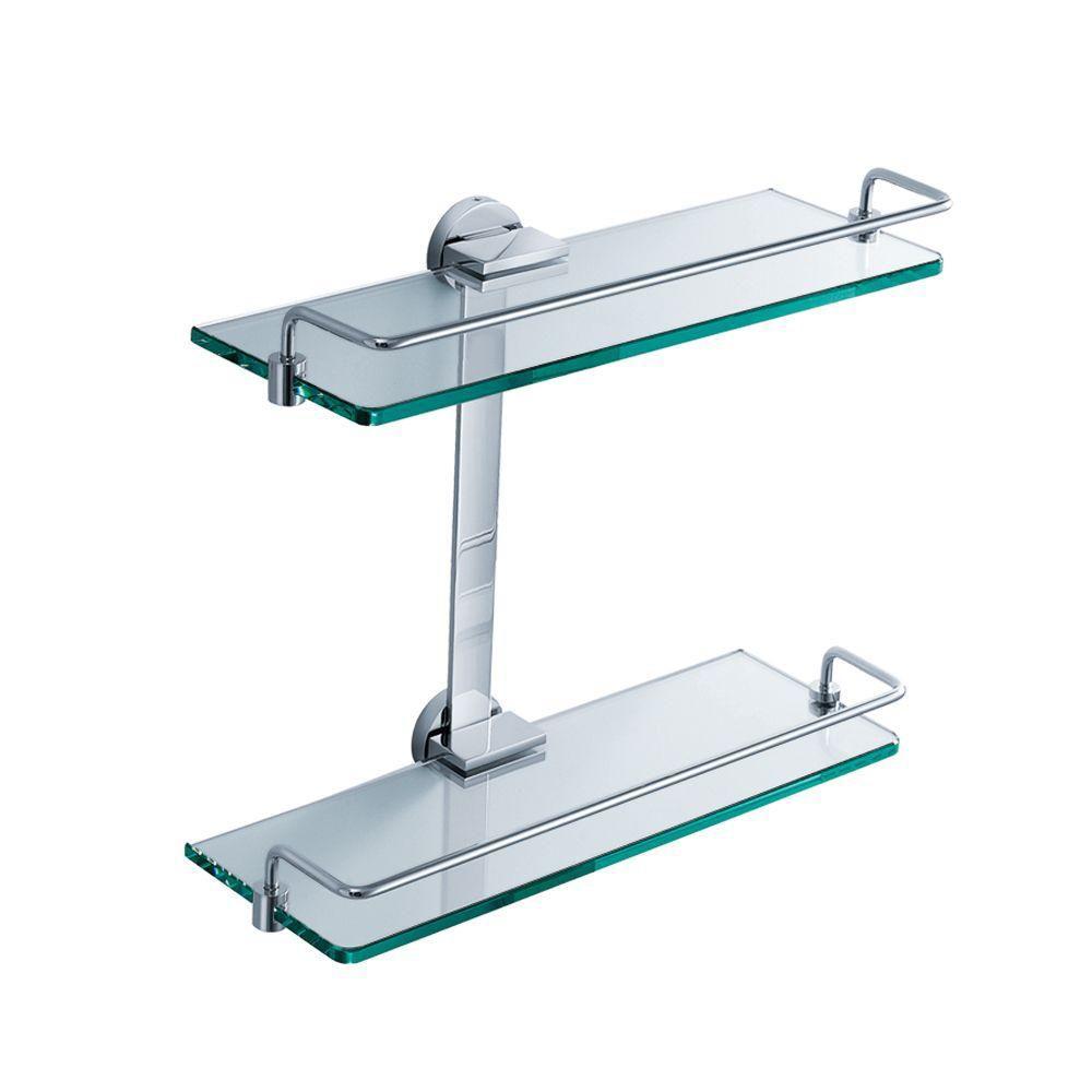 Fresca tablette de verre 2 niveaux pour salle de bains for Tablette de verre salle de bain