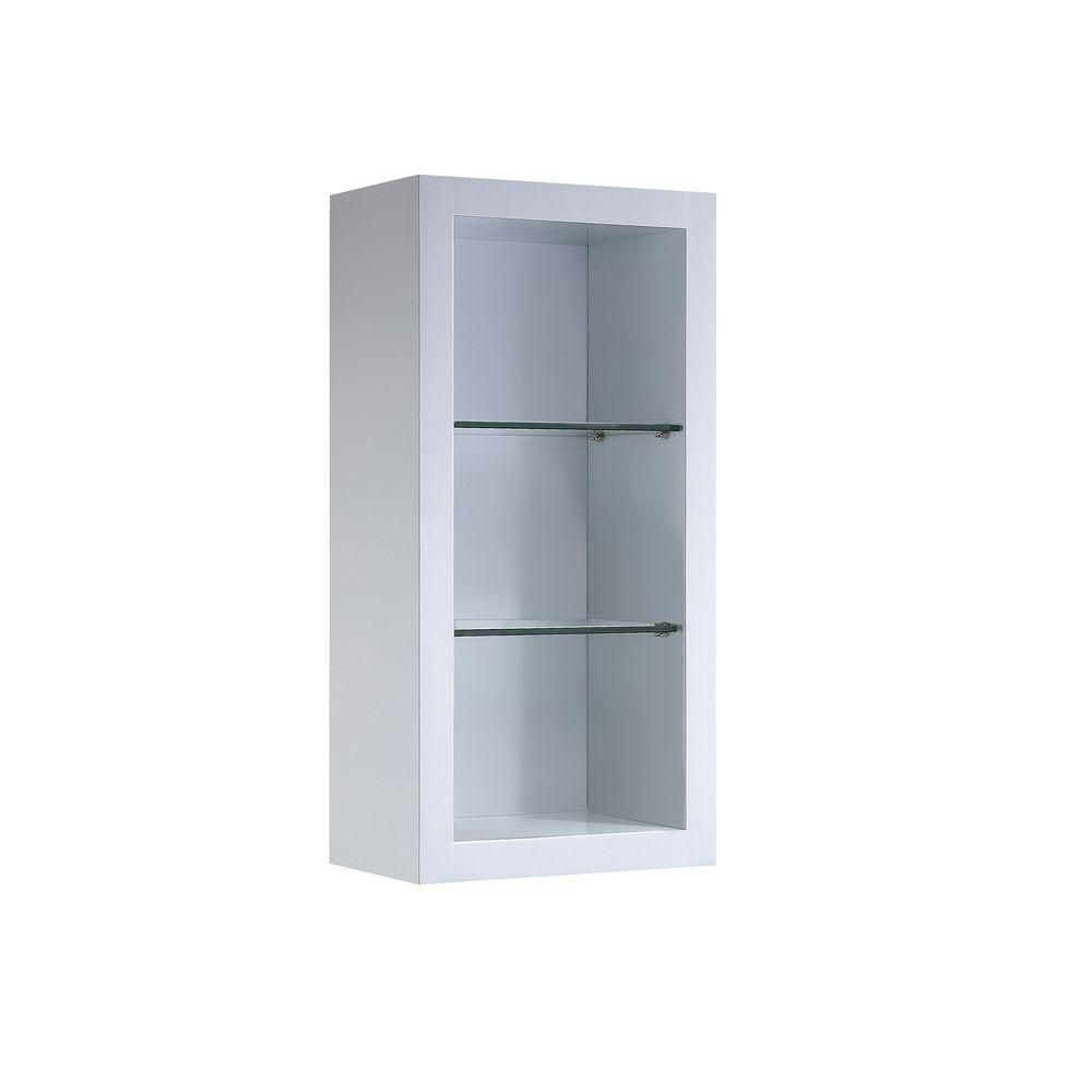 Allier White Bathroom Linen Side Cabinet w/ 2 Glass Shelves