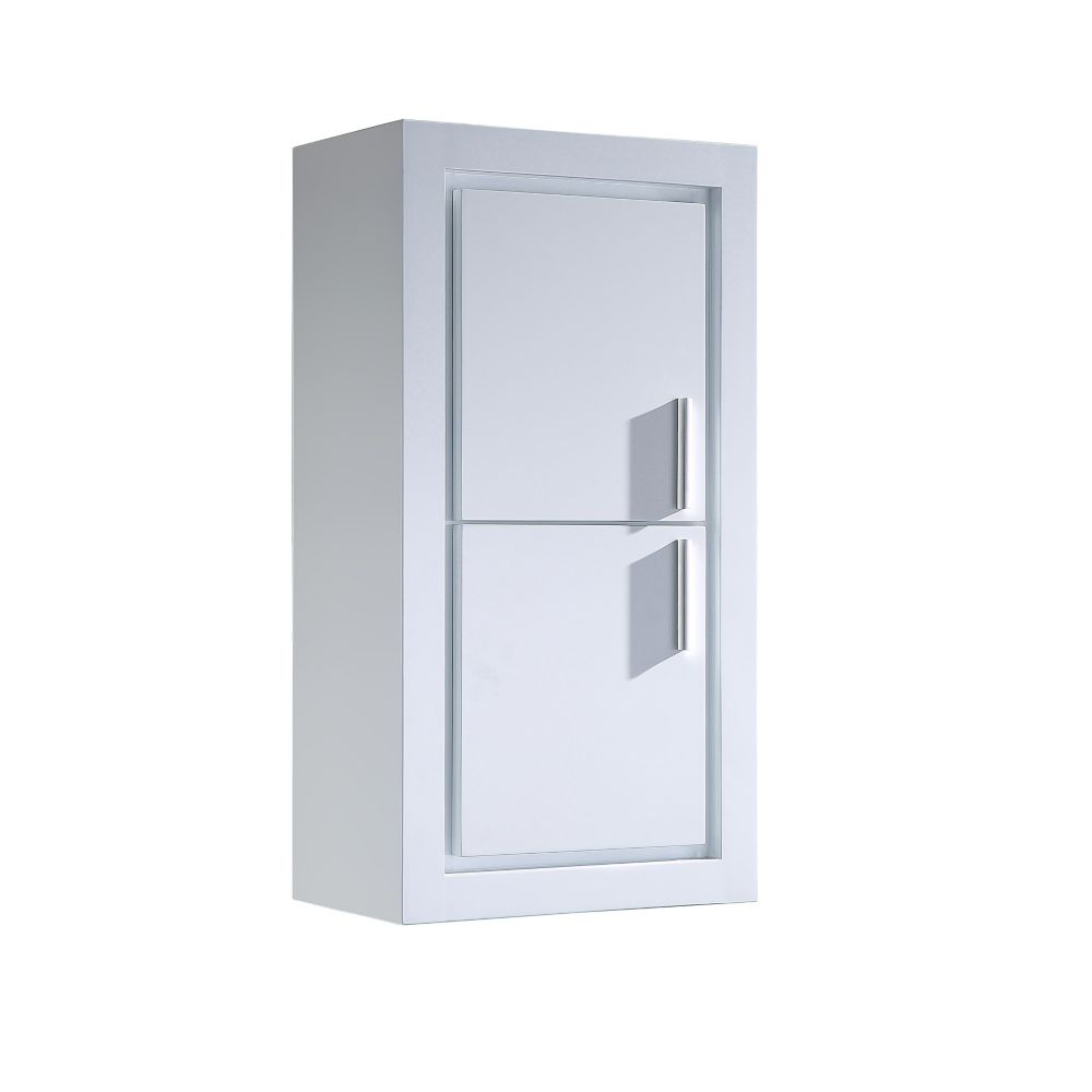 Allier White Bathroom Linen Side Cabinet w/ 2 Doors