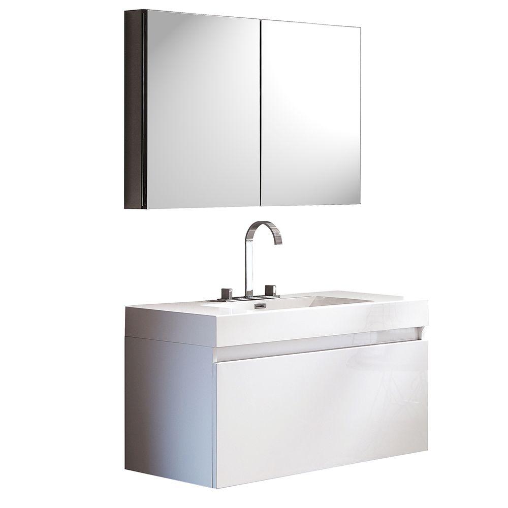 Mezzo Meuble-lavabo de salle de bains moderne blanc avec armoire à pharmacie