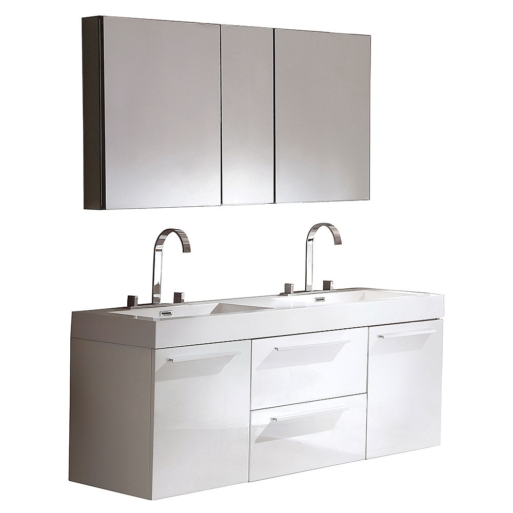 Fresca opulento 54 1 4 inch w double sink vanity in black finish with medicine cabinet the for 54 inch double sink bathroom vanity