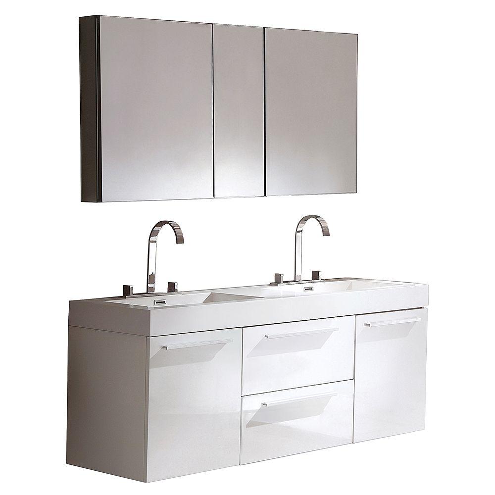 Opulento White Modern Double Sink Bathroom Vanity w/ Medicine Cabinet