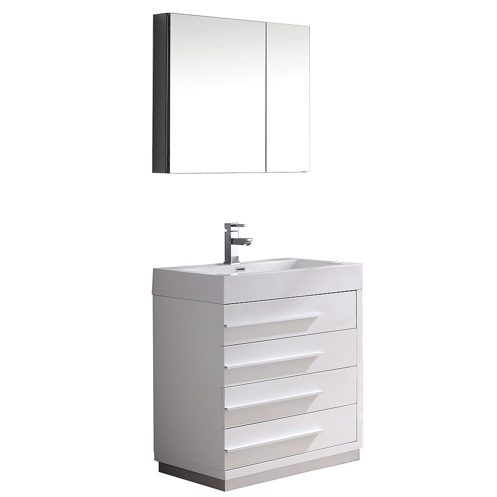 30 inch bathroom cabinet fresca livello 30 inch w vanity in white finish with 10192