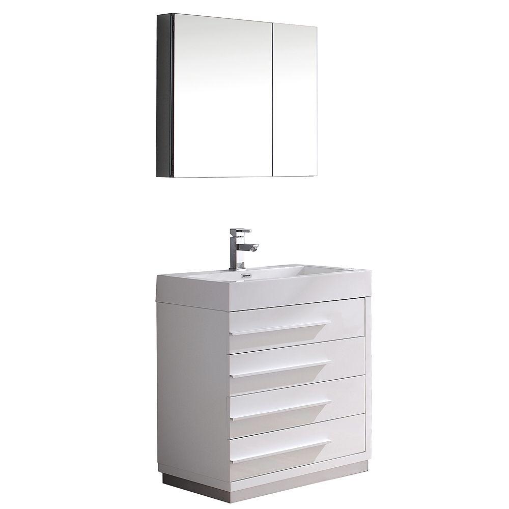 Livello 30-inch W Vanity in White Finish with Medicine Cabinet