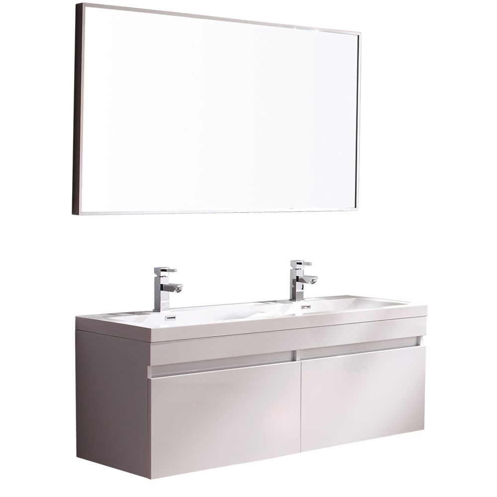 Largo 56.63-inch W 4-Drawer Wall Mounted Vanity in White With Acrylic Top in White, Double Basins