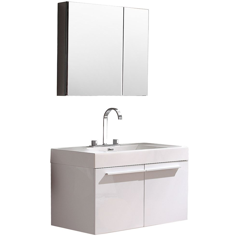 Vista 35.38-inch W Vanity in White Finish with Medicine Cabinet