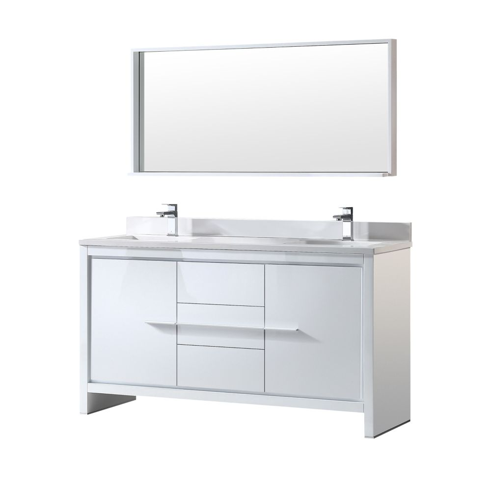 Fresca Allier 60 Inch W Double Vanity In White Finish With Mirror The Home