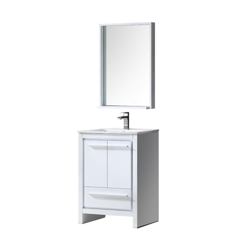 Allier Meuble-lavabo de salle de bains moderne en blanc 24 po à double évier avec miroir