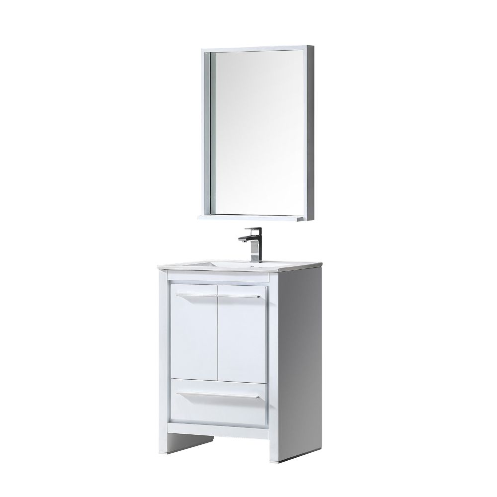 Allier 24-inch W Vanity in White Finish with Mirror