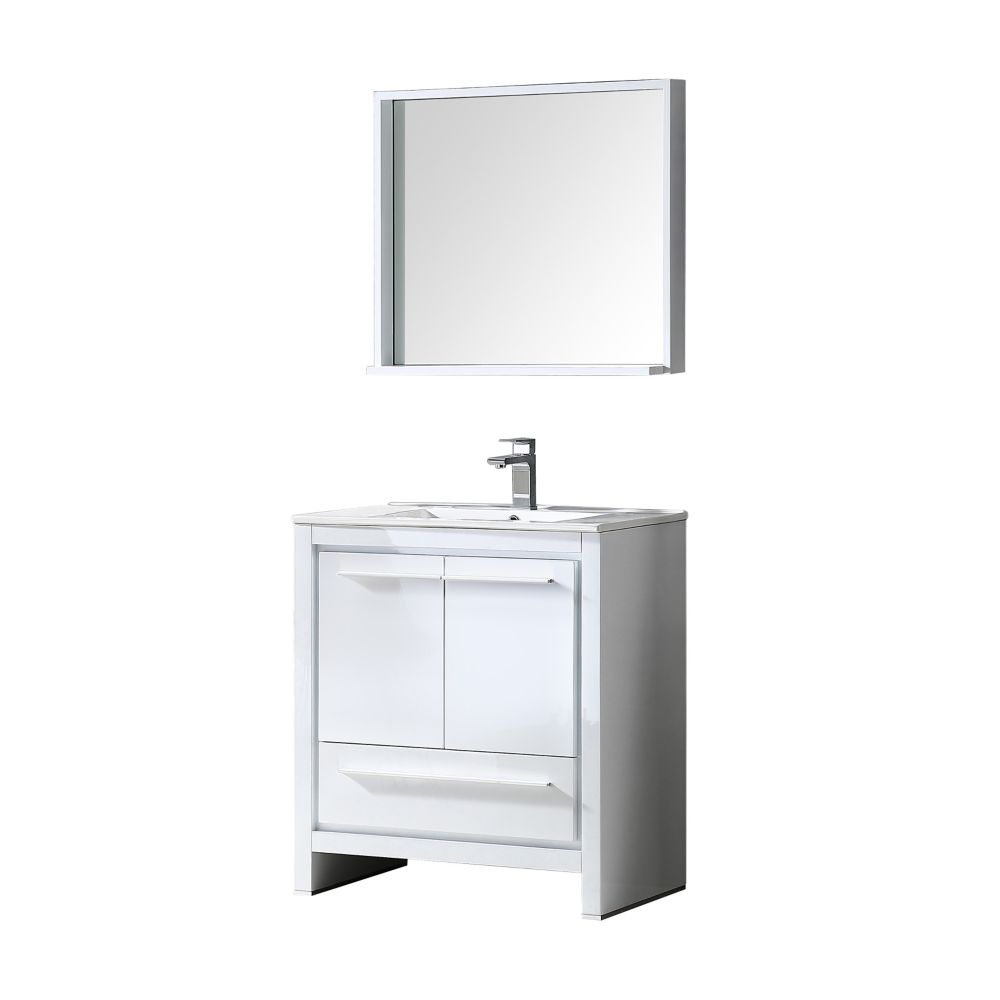 Allier 30-inch W Vanity in White Finish with Mirror