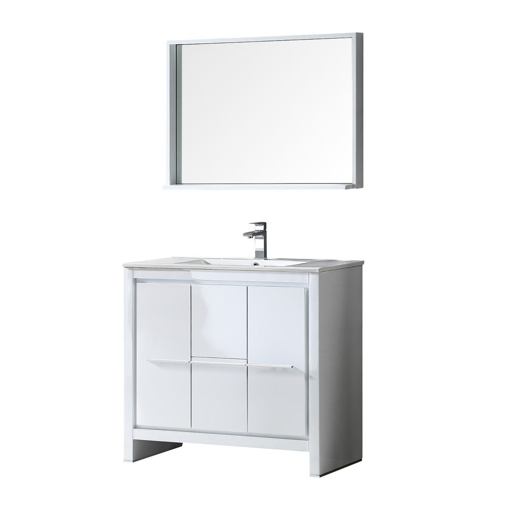 Allier 36-inch W Vanity in White Finish with Mirror