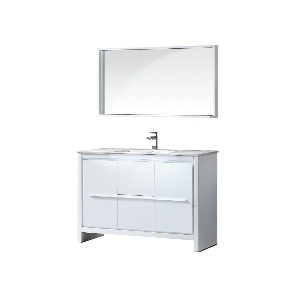 Fresca allier 48 inch w vanity in white finish with mirror for 48 inch mirrored bathroom vanity