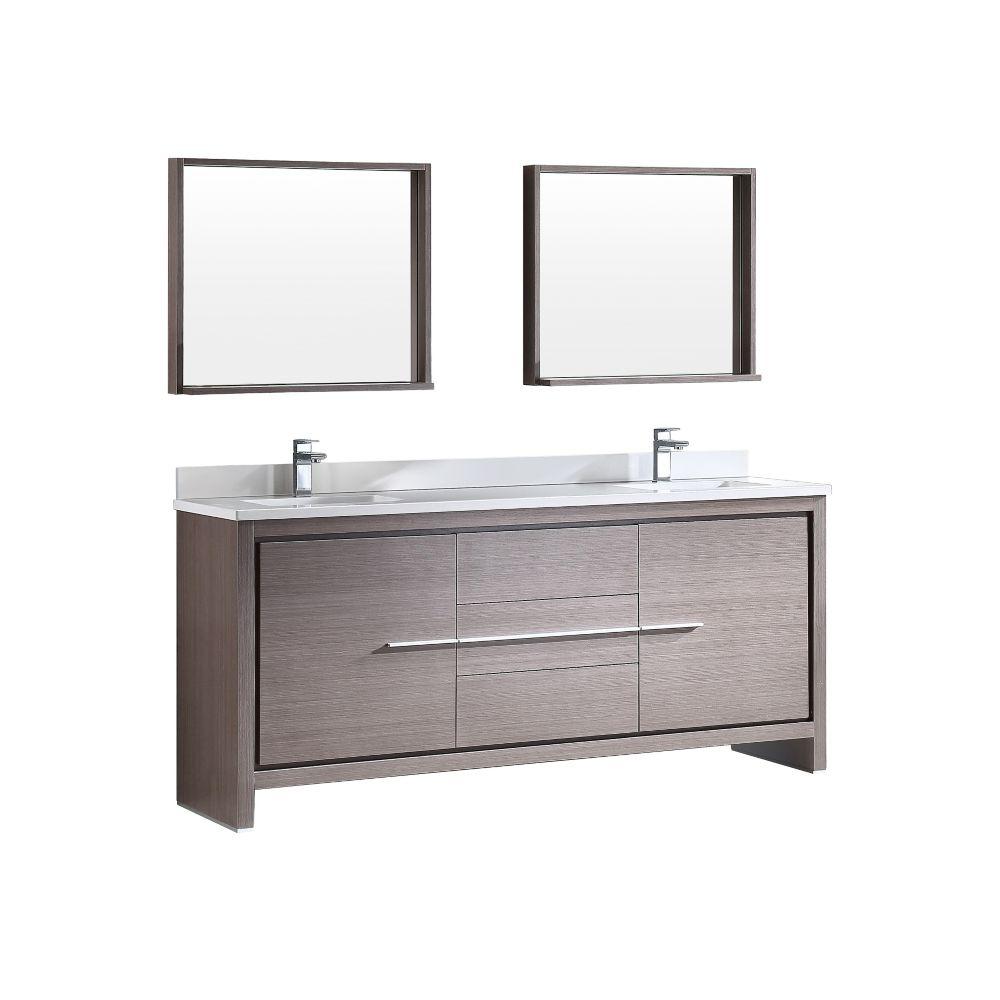 Allier Meuble-lavabo de salle de bains moderne en chêne gris 72 po à double évier avec miroir