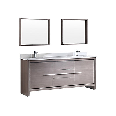 Fresca Allier 72-inch W 3-Drawer 2-Door Vanity in Grey With Ceramic ...