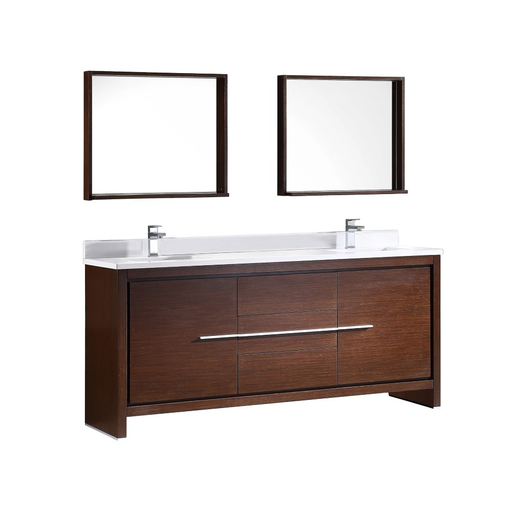 Allier 72-inch W Double Vanity in Wenge Brown Finish with Mirror