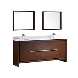 Fresca Allier 72-inch W 3-Drawer 2-Door Vanity in Brown With Ceramic Top in White, Double Basins
