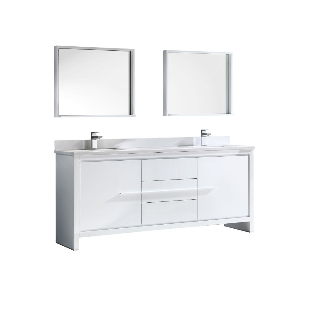 Allier 72-inch W Double Vanity in White Finish with Mirror