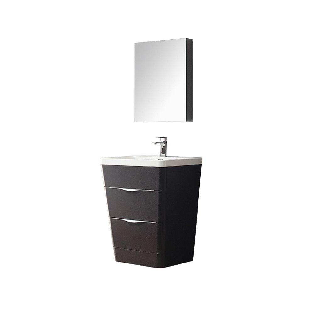 Milano 26-inch W Vanity in Chestnut Finish with Medicine Cabinet