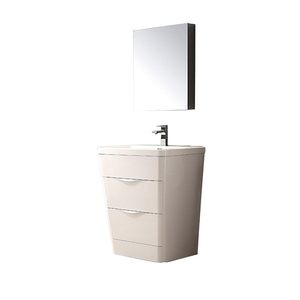 Milano 26-inch W Vanity in Glossy White Finish with Medicine Cabinet