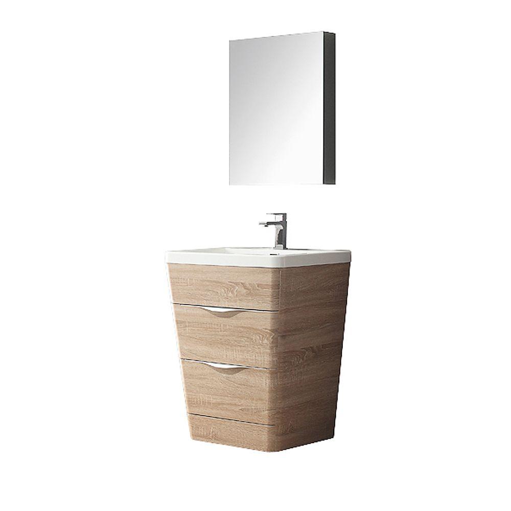 Milano 26-inch W Vanity in White Oak Finish with Medicine Cabinet