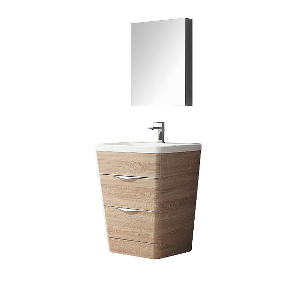 Milano 26-inch W Vanity in White Oak Finish with Medicine Cabinet