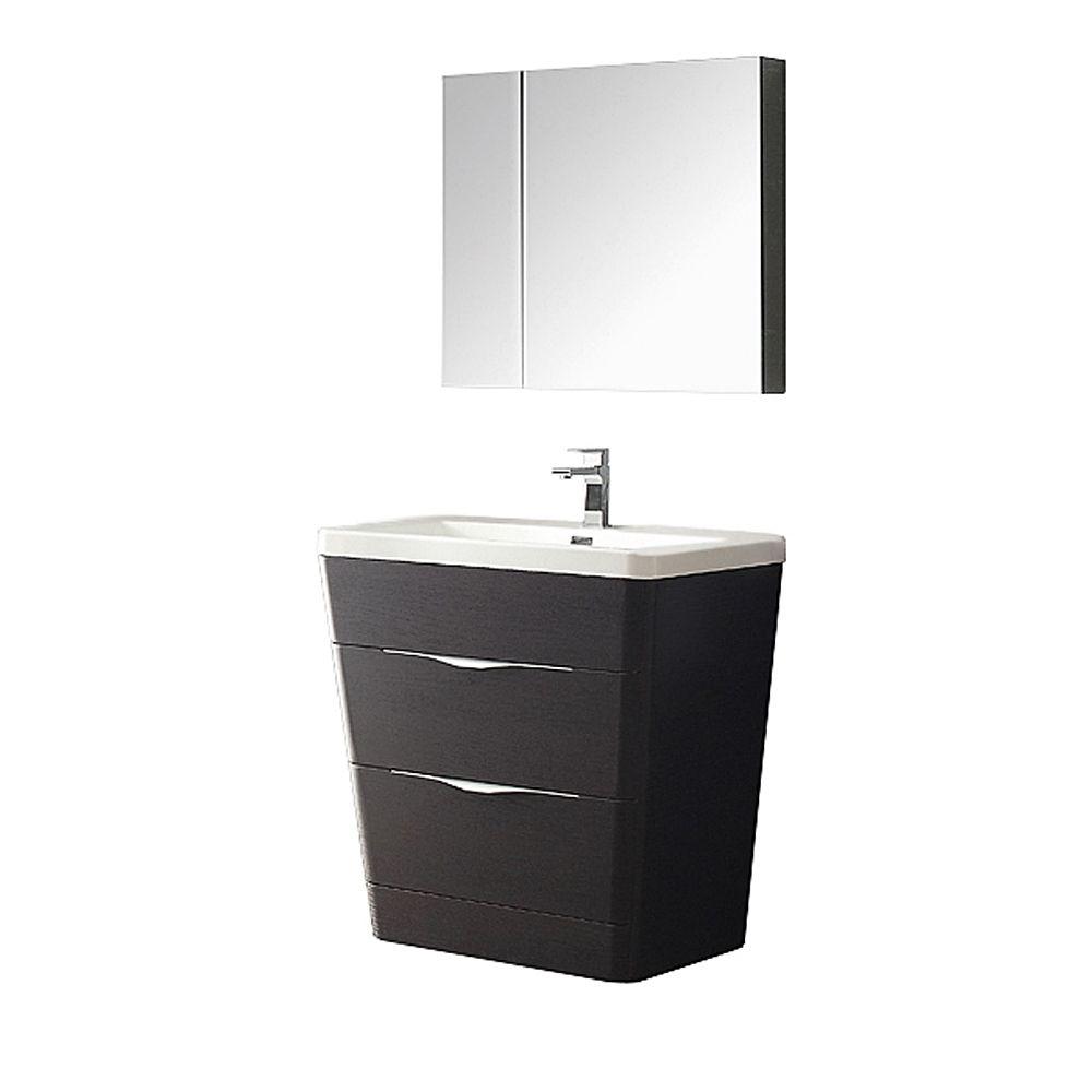 Milano 32-inch W Vanity in Chestnut Finish with Medicine Cabinet